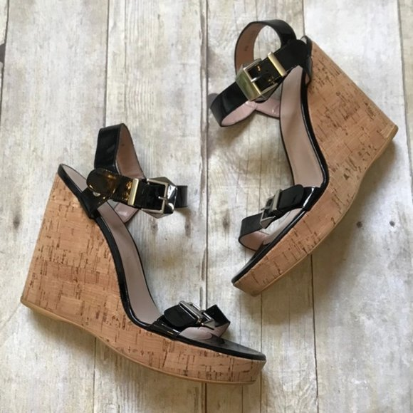 Stuart Weitzman Twomuch Patent Leather Cork Wedges